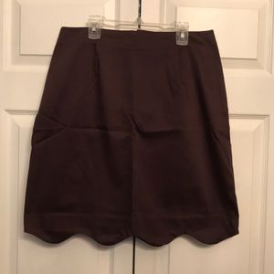 Dresses & Skirts - Classic, Brown Scalloped Edge Pencil Skirt